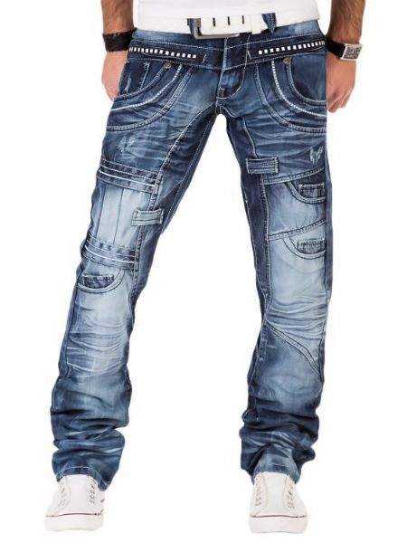 Kosmo Lupo Mens Jeans Light Blue Designer Stud Detailed Regular Thigh Tapered Hem